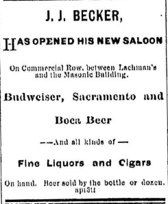 Becker's Saloon Ad 1879 Reno Gazette