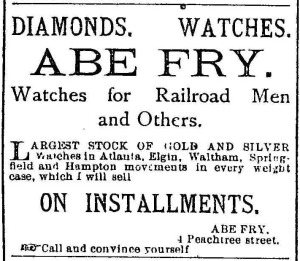 Abe Fry Advertisement 1884