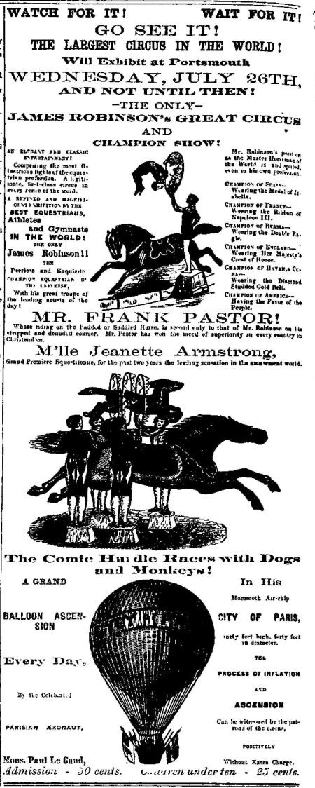 portsmouth circus advert 1871c
