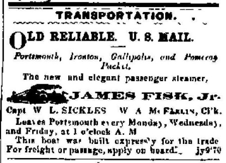 Portsmouth Times Advertisement 1870