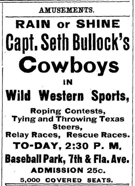 seth bullock cowboys event ad 1905