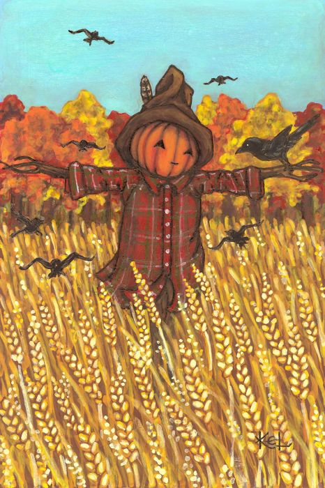 THE SCARECROW. In yonder field he stands erect, No matter what the weather,