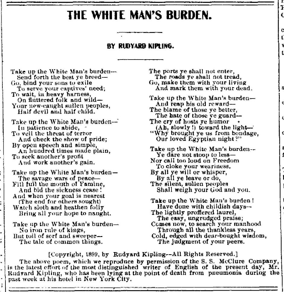 The White Man's Burden (1/6)