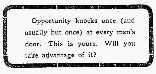 opportunity knocks but once essay Opportunity knocks only once quotes - 1 they wrong opportunity who say she knocks but once read more quotes and sayings about opportunity knocks only once.