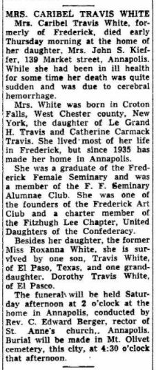 Caribel Travis White - Obituary - The Frederick Post MD 30 Apr 1954