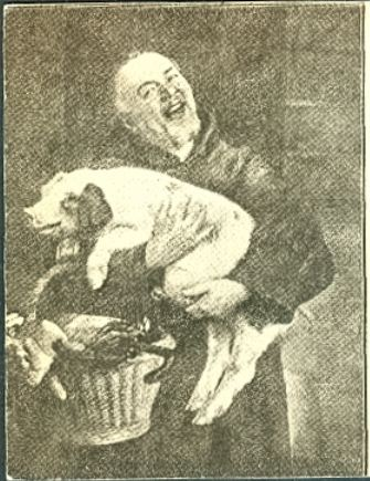 chester white pig and man with basket