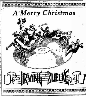Irving Zuelke - Merry Christmas - Appleton Post Crescent WI 24 Dec 1921