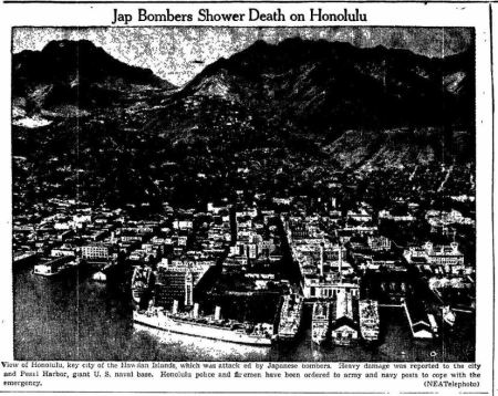 Jap Bombers Shower Death on Honolulu - Edwardsville Intellignecer IL 09 Dec 1941