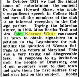 L Travis White - Mrs John Kearnes White - Suffragette - The News - Frederick MD 15 Dec 1915