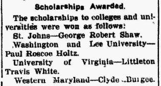 L Travis White - Scholarship - The News - Frederick MD 06 Jun 1912