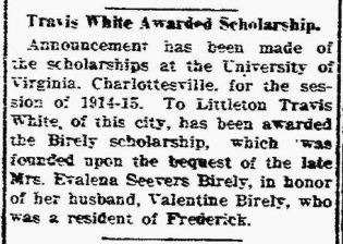 L Travis White - Scholarship - The News - Frederick MD 20 Jun 1914