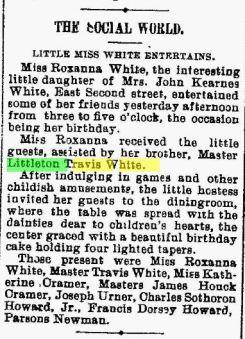 Littleton Travis White - Roxanna's Party - The News - Frederick MD 17 Dec 1901