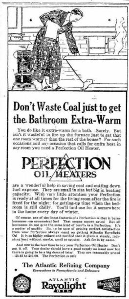 Oil Heater - Perfection - The Gettysburg Times PA 18 Dec 1918