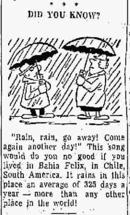Rain - Chile - Troy Record NY 17 Dec 1962