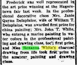 Roxanna White - Charcoal Drawing - The Frederick Post MD 15 Oct 1917