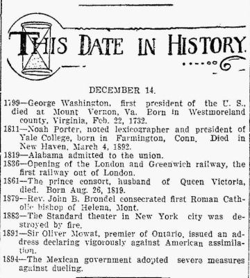 This Date In History - Sandusky Star Journal OH 14 Dec 1911