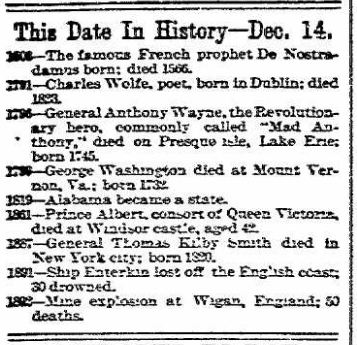 This Date in History - The News - Frederick MD 14 Dec 1893