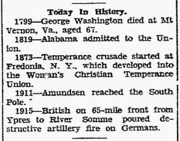 Today in History - George Washington - The News - Frederick MD - 14 Dec 1929