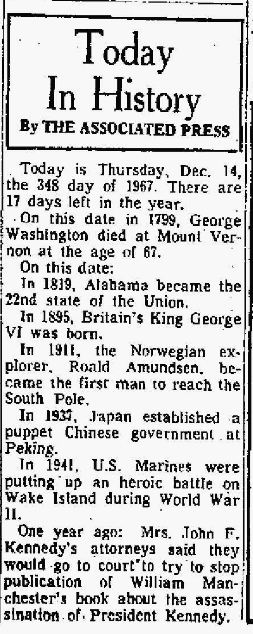 Today in History - GW - The Bridgeport Post CT 14 Dec 1967