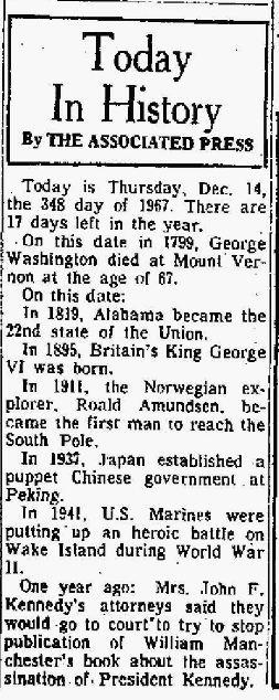 Today in History - GW - The Bridgeport Post CT 14 Dec 1967