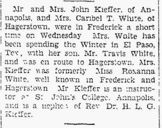 Travis White El Paso - Caribel and Roxanna visit - The Frederick Post MD 11 Apr 1931