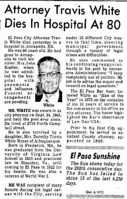Travis White - Obituary - El Paso Herald-Post TX 08 Dec 1973